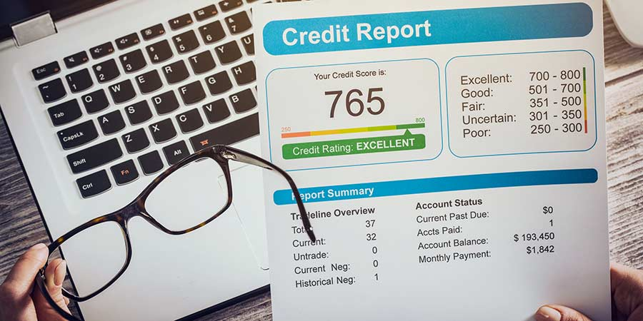 person looking at a credit report