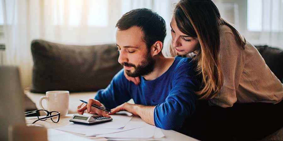 Couple looking over their finances