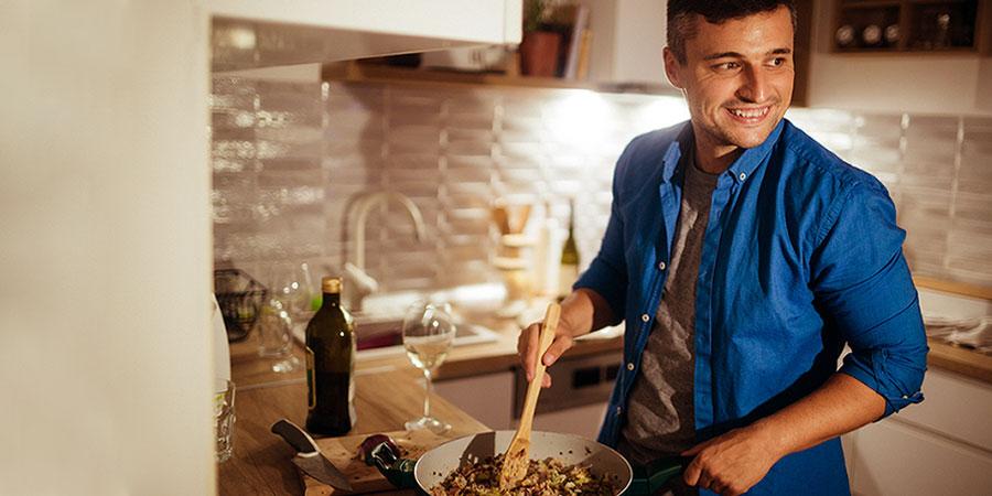 Man preparing dinner at home