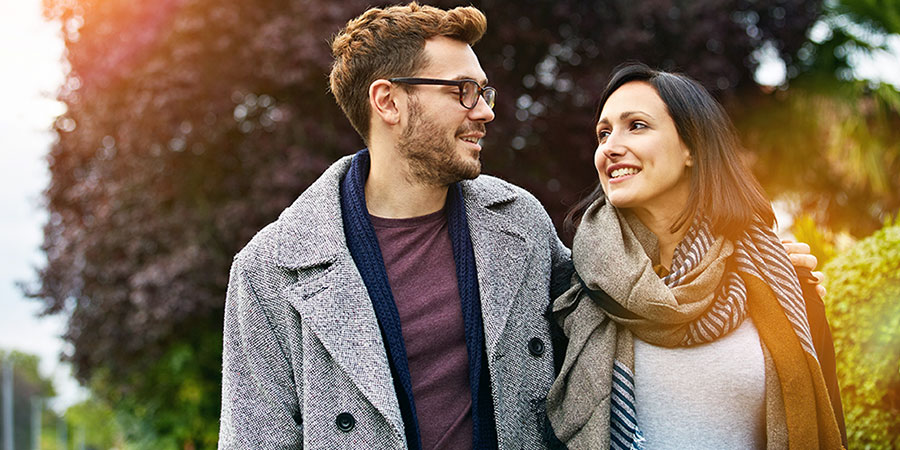 Couple looking at each other knowing they can talk about finances