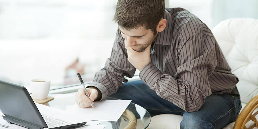 Man reviewing loan application
