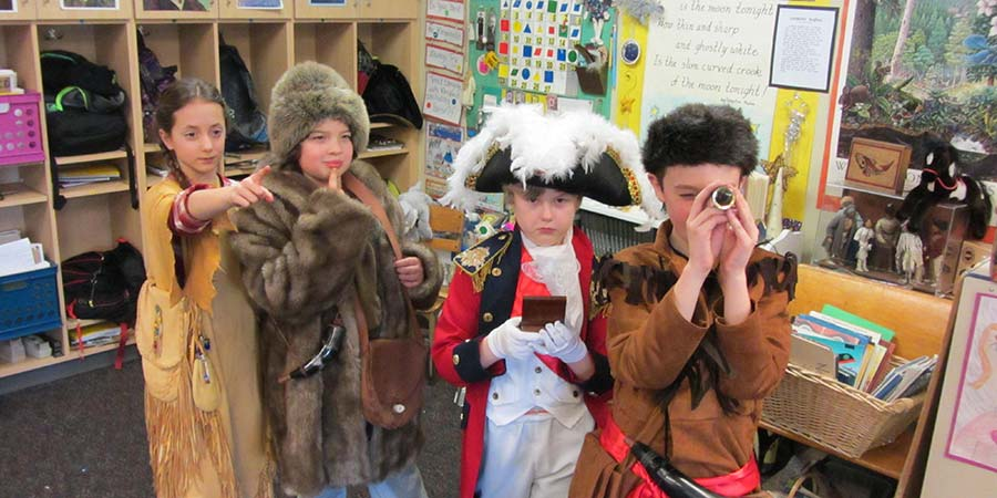 Students wearing costumes purchased with a Classroom Cash grant