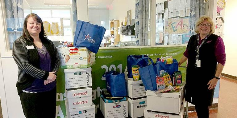 School supplies were donated to Pacific Beach Elementary in Grays Harbor County